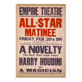 """Cartão Postal Harry Houdini, como """"o teatro retro de um mágico"""""""