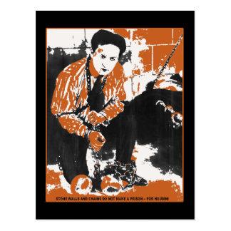 Cartão Postal HARRY ilustração preta e alaranjada de HOUDINI da