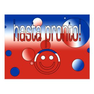 Cartão Postal Hasta pronto! A bandeira do Chile colore o pop art