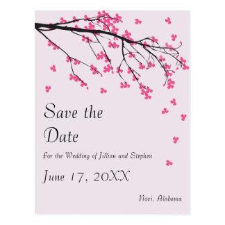 Cartão Postal Haste da flor de cerejeira - salvar a data