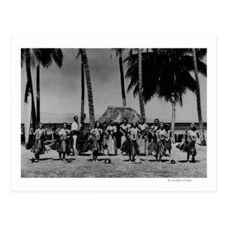 Cartão Postal Havaí - linha de dança das meninas de Hula
