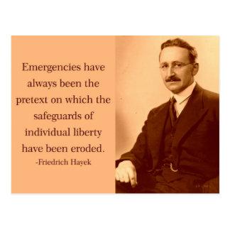 Cartão Postal Hayek em emergências