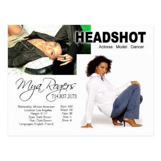 Cartão Postal Headshot para o ator do modelo |