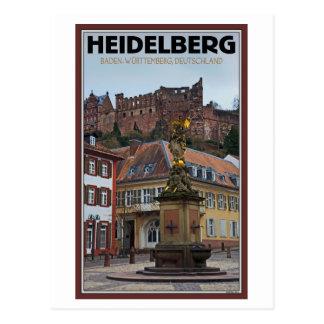 Cartão Postal Heidelberg - estátua e castelo