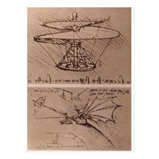 Cartão Postal Helicóptero e asa de levantamento