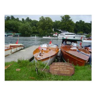 Cartão Postal Henley em Tamisa, barcos de motor antigos