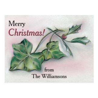 Cartão Postal Hera e Natal personalizado azevinho