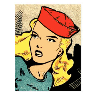 Cartão Postal Heroína da banda desenhada em Red Hat