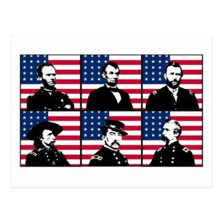 Cartão Postal Heróis da guerra civil e a bandeira americana
