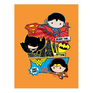 Cartão Postal Heróis de Chibi prontos para a ação!