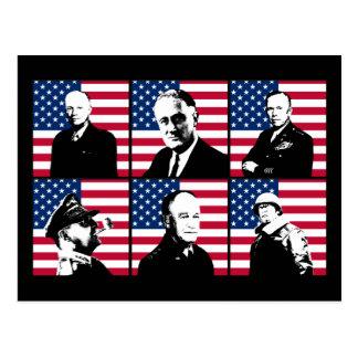 Cartão Postal Heróis WW2 e a bandeira americana
