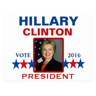 Cartão Postal Hillary Clinton para o presidente 2016