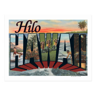 Cartão Postal Hilo, letra ScenesHilo de HawaiiLarge, HI