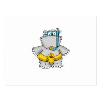 Cartão Postal Hipopótamo bonito com um pneu de flutuação e