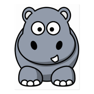 Cartão Postal Hipopótamo bonito dos desenhos animados