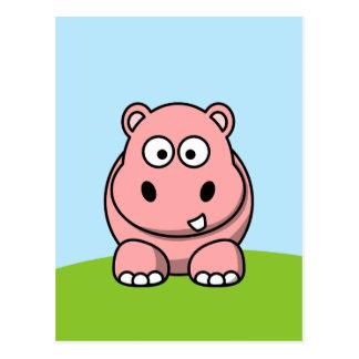 Cartão Postal Hipopótamo cor-de-rosa bonito