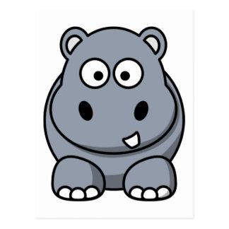 Cartão Postal Hipopótamo engraçado bonito