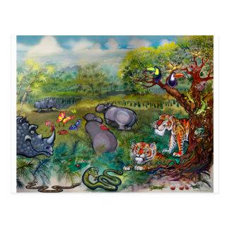 Cartão Postal Hipopótamos e tigres dos Rhinos