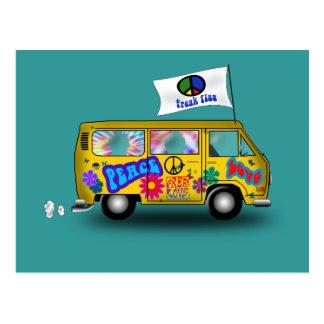 Cartão Postal Hippie mágico Van