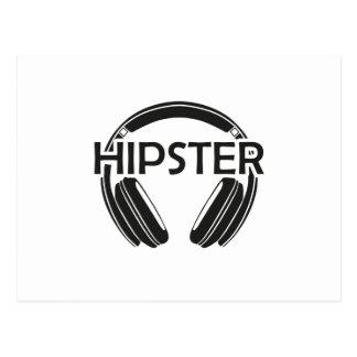 Cartão Postal Hipster dos fones de ouvido da música