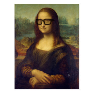 Cartão Postal Hipster feliz Mona Lisa em vidros legal do hipster