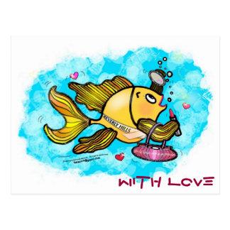 Cartão Postal História em quadrinhos engraçada bonito dos peixes