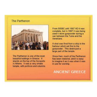 Cartão Postal História, piscina antiga, Partenon