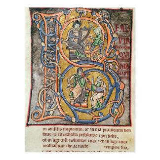 """Cartão Postal Historiated rubrica """"B"""" que descreve o rei David"""