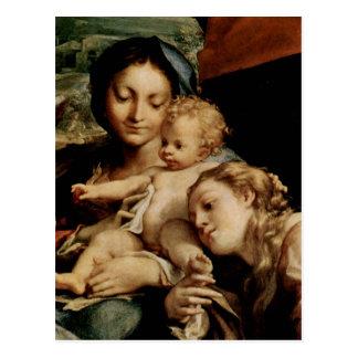 Cartão Postal Hl do DES de Correggio Madonna. Hieronymus (Tag)