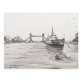 Cartão Postal HMS Belfast no rio Tamisa London.2006