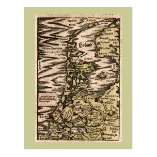 """Cartão Postal """"Holand"""" - mapa colorido 1598 mãos de Woodblock"""