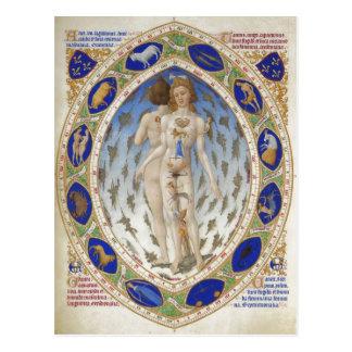 Cartão Postal Homem anatômico, Les Tr? riquezas Heures du duc de