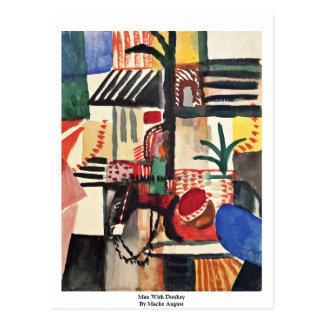 Cartão Postal Homem com o asno por Macke agosto