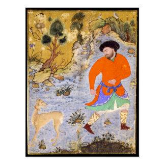 Cartão Postal Homem com um Saluki por Shaykh Muhammad em 1555