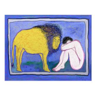 Cartão Postal Homem e leão por Ian Roz