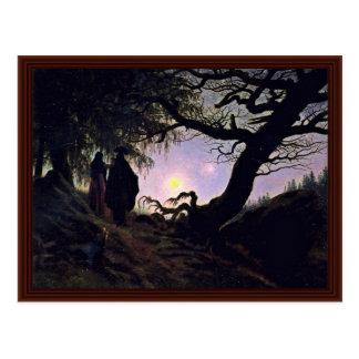 Cartão Postal Homem e mulher que olham a lua