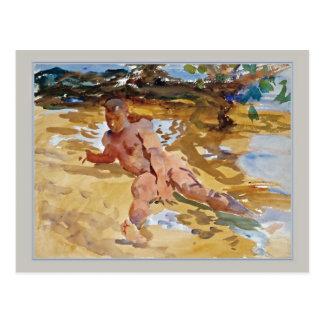 Cartão Postal Homem na praia Florida por Sargent