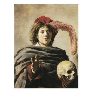 Cartão Postal Homem novo de Frans Hals com crânio