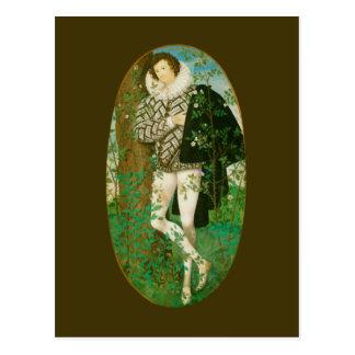 Cartão Postal Homem novo entre rosas por Hilliard