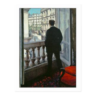 Cartão Postal Homem novo na janela por Gustave Caillebotte