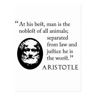 Cartão Postal homem, o mais nobre dos animais, Aristotle