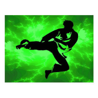 Cartão Postal Homem verde do relâmpago das artes marciais