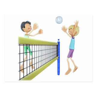 Cartão Postal Homens dos desenhos animados que jogam o voleibol