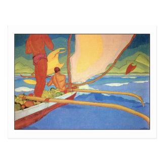 Cartão Postal Homens na canoa de guiga por Arman Manookian