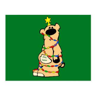 Cartão Postal honeybear christmas_green