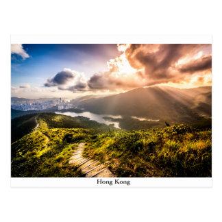 Cartão Postal Hong Kong Mountainscape no por do sol