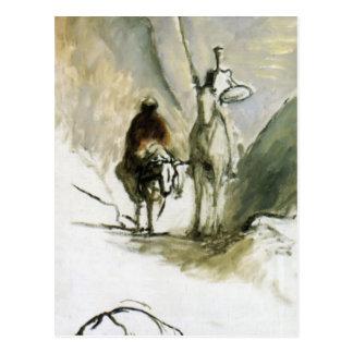 Cartão Postal Honore Daumier- Don Quixote, Sancho Pansa