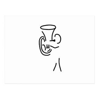 Cartão Postal hornist tuba blechblaeser sopros latão