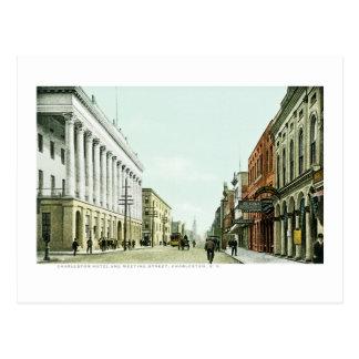 Cartão Postal Hotel de Charleston e rua da reunião, Charleston,