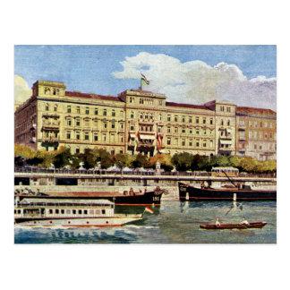 Cartão Postal Hotel grande Budapest do 1920 da aguarela